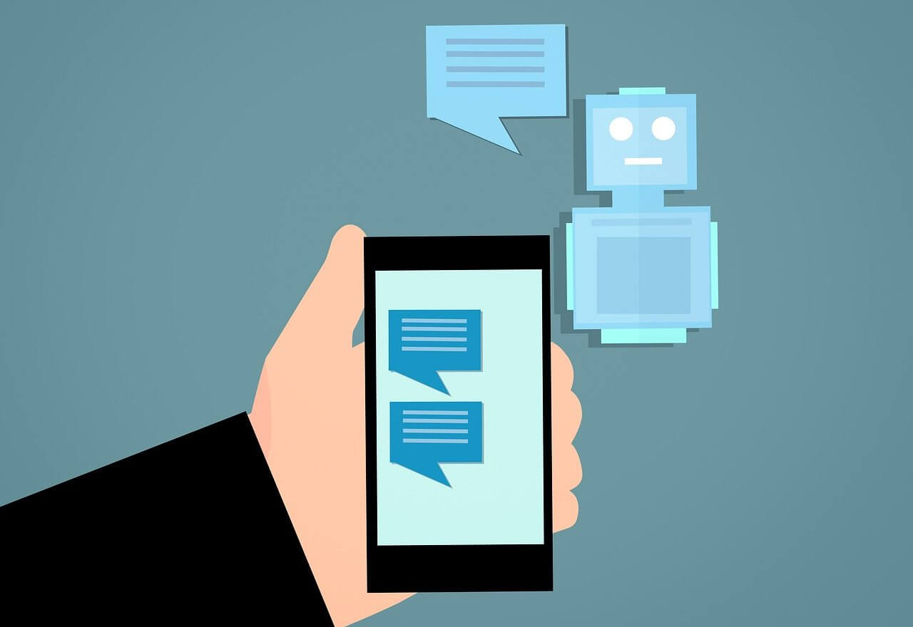 An abstract illustration that shows a chatbot communicating with a mobile device