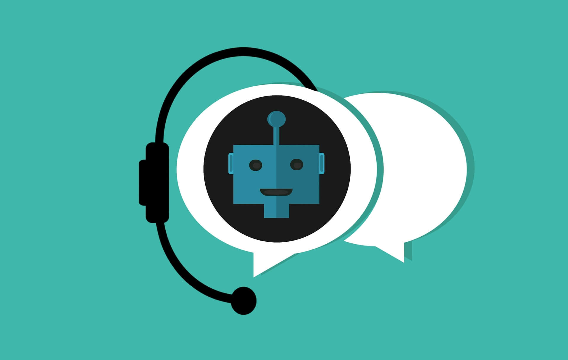 chat bubble with a headset signifying a chat bot