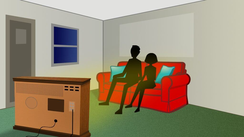 illustration of two people watching TV
