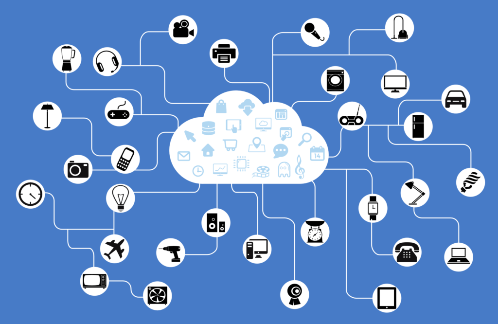 an illustration of different icons representing modern life connecting with cloud storage