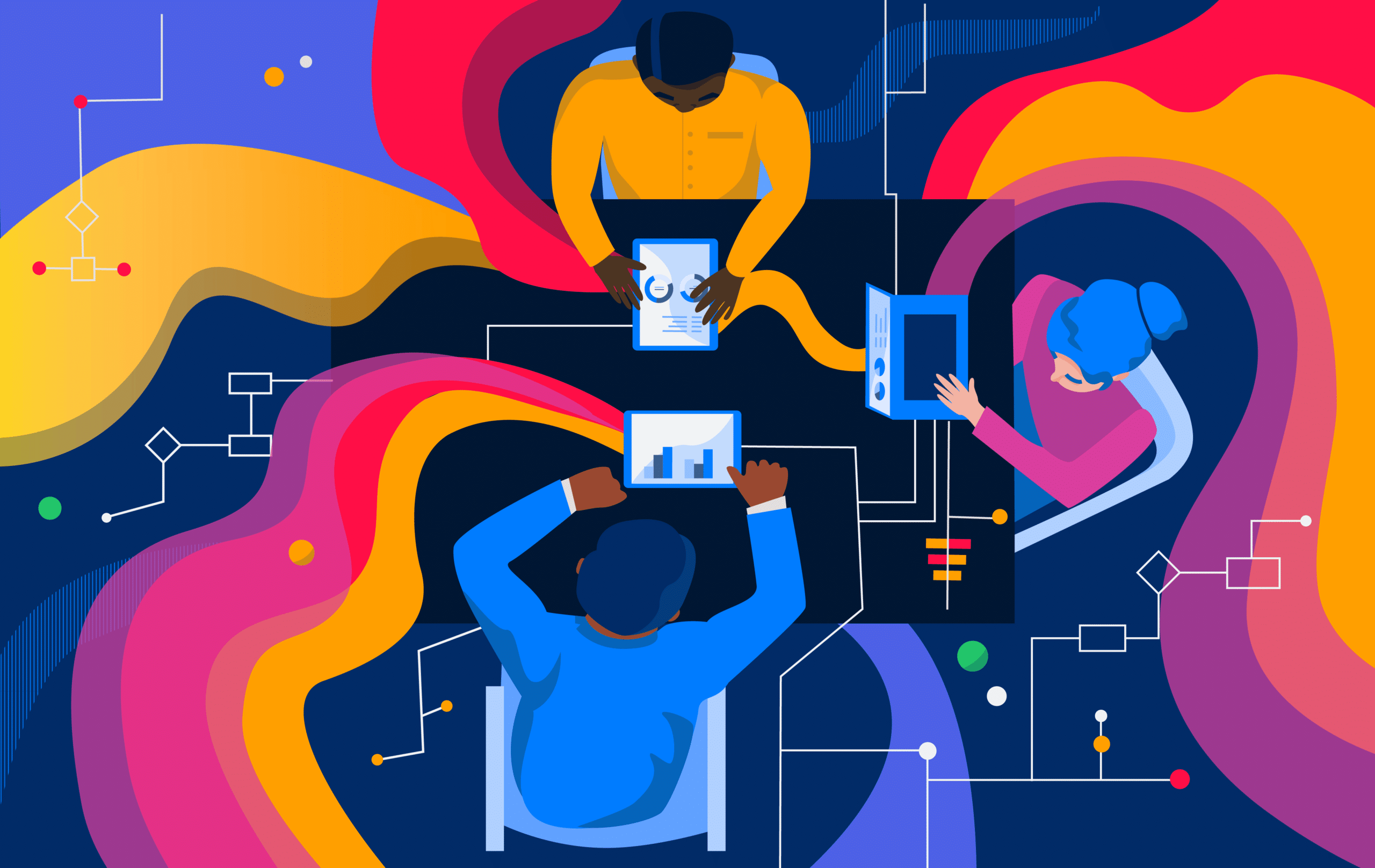 An abstract illustration of an enterprise connecting via AI.